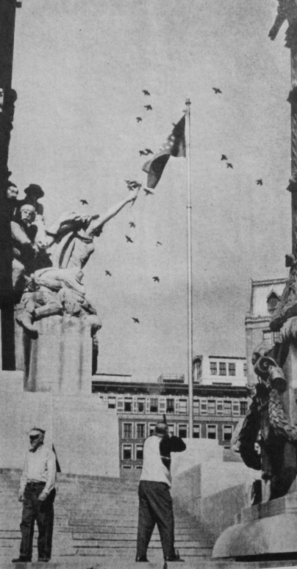 Pigeon Hunting at the Soldiers and Sailors Monument in Indianapolis, 1963