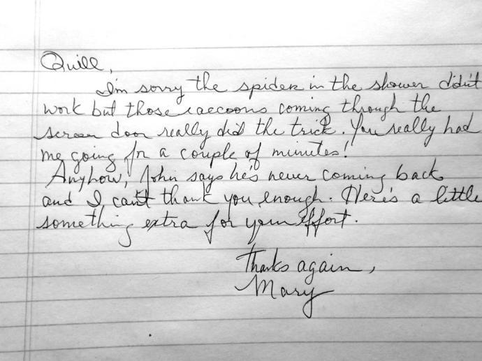 A note from a fan.