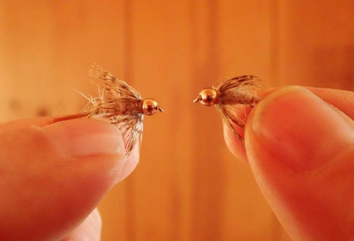 "Our patented food pellet compared with a ""real"" fly. Fish can't tell the difference, either!"